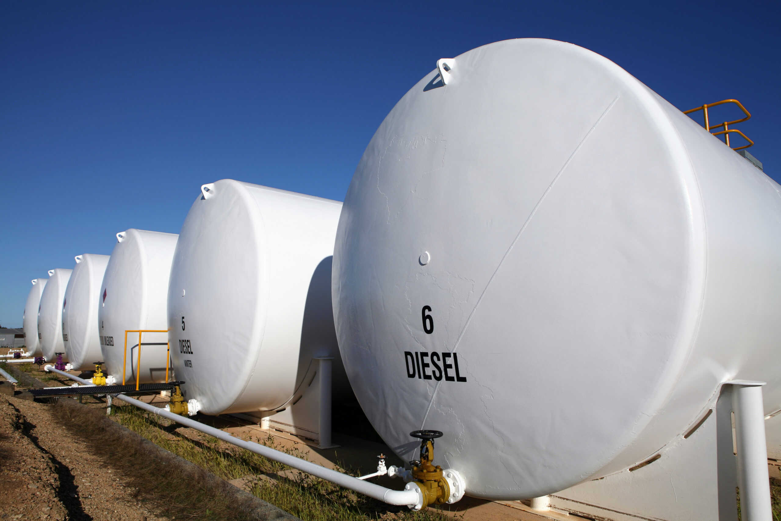 Storage Tanks treated with Actioil. Each Tank 60.000 Liters of Fuel