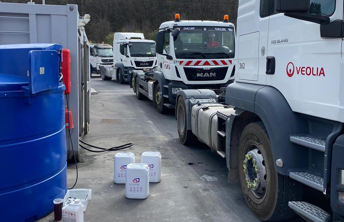 Four Trucks in a queue for Actioil diesel treatment